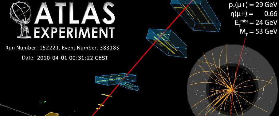 Aufgezeichneter Zerfall eines W-Bosons mit dem ATLAS-Detektor am LHC: Für die Bestimmung der W-Boson-Masse wurden mehr als 10 Millionen Ereignisse dieser Art vermessen und untersucht. (Abb./©: ATLAS Collaboration)