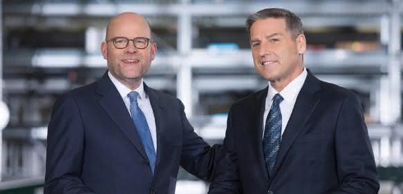 KION Group CEO Gordon Riske und John Baysore, Dematic Präsident und CEO