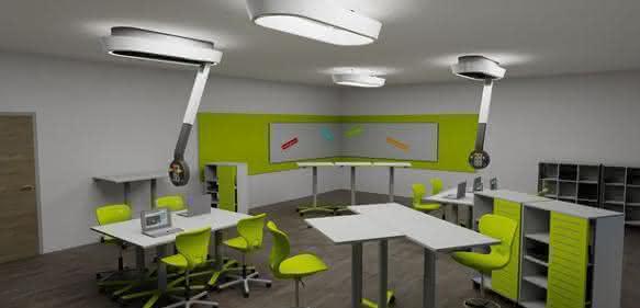 Labortechnik: Designleuchte und flexibles Mediensystem in Einem