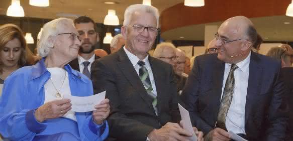 Sick-Jubiläum: Gisela Sick, Winfried Kretschmann, Robert Bauer