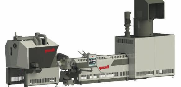 Bestandteile der Industrieabfall-Recyclinganlage, wie sie auf der K präsentiert werden soll. Mit Dosier- und Stopfeinheit, MRS-Extruder, Rotary-Filtriersystem, Online Viskosimeter und Jump-Reaktor. (Bild: Gneuß)