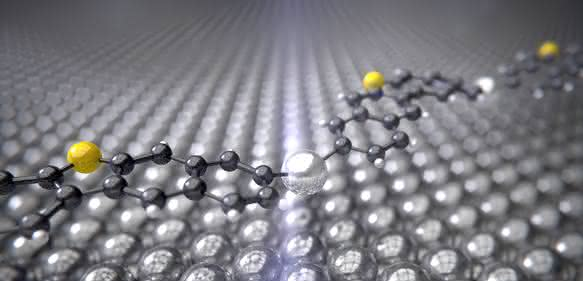 Das Zwischenprodukt der Ullmann-Reaktion mit dem Silberkatalysator (silbern) zwischen den Kohlenstoffringen (schwarz) und Schwefelatomen (gelb) krümmt sich wie eine Brücke über der Silber-Oberfläche. (Bild: Universität Basel, Departement Physik)