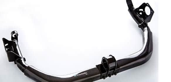 Die im Fraunhofer LBF entwickelte hybride Leichtbauhinterachse reduziert das Achsgewicht im Vergleich zum herkömmlichen Metall-Design um 37 Prozent. (Bilder: Fraunhofer LBF)