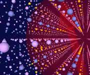 Illustration eines Halbleiter-Quantenpunkts aus Indiumarsenid/Galliumarsenid (Indium, Gallium, Arsen in gelb, blau und lila). Zwei entferne Kernspins (gelbe Pfeile) sind durch den Spin eines Elektrons miteinander gekoppelt, das um die Atome im roten Bereich kreist. (Bild: Universität Basel, Departement Physik)
