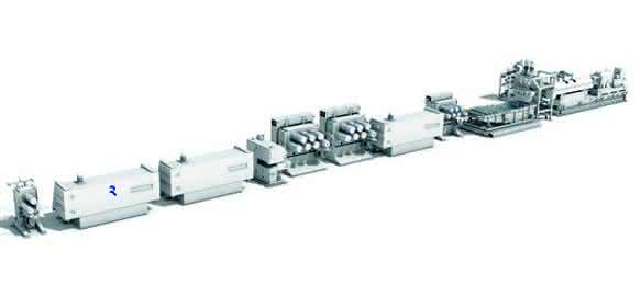 Extrusionsanlage zur Herstellung von Verpackungsband kann Reimotec nun auch mit der Vacurema-Technologie ausstatten. (Bild: Reifenhäuser)