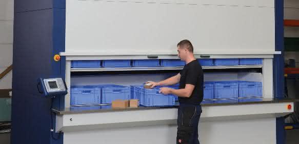Lagerpaternoster Towermax  mit Anbindung an die RFID-Plantafel-Technologie von Weigang Neo