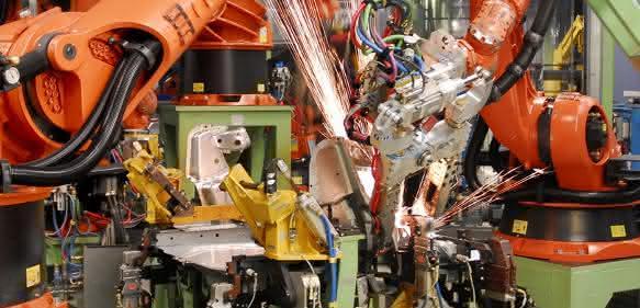 Schweißroboter Automobilproduktion