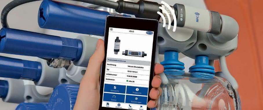 Vakuum- und Druckschaltern VS/VS per Smartphone ansteuern