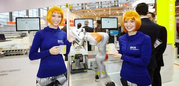 Sick-Messestand mit Roboter