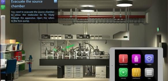 Gesamtansicht des interaktiven Quantenlabors. (Copyright: Gruppe Quantennanophysik, Universität Wien; Bild: Mathias Tomandl & Patrick Braun)