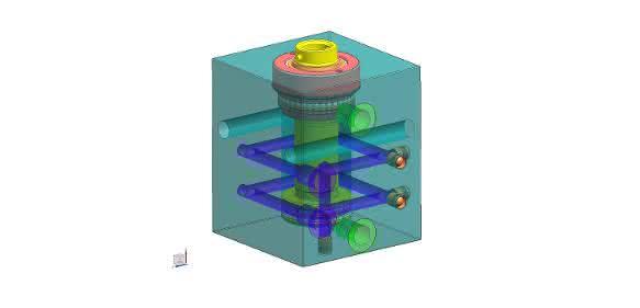 Blockzylinder mit integrierten Kühlbohrungen Roemheld