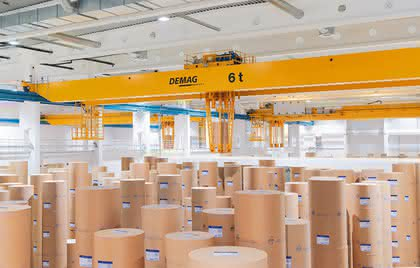 Prozesskrane: Papierrollen schonend einlagern