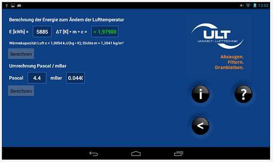 ULT-App jetzt auch für Android: Applikationssoftware berechnet Absaug- und Filteranlagen
