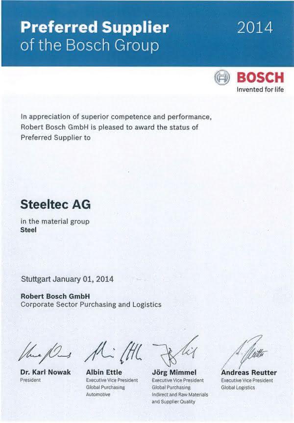 """Blankstahlexperte zum dritten Mal """"Preferred Supplier"""": Steeltec weiterhin Vorzugslieferant von Bosch"""
