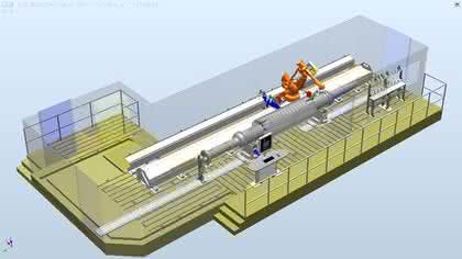 Roboter entgratet große Turbinen- und Generatorwellen: Riesenwellen zackenfrei