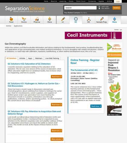 Die Internet-Adresse des Monats (April): Gaschromatographie im Internet