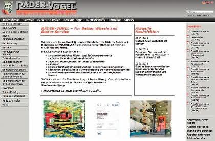 Kataloganzeige: RÄDER-VOGEL® ist einer der weltweit führenden Hersteller von Rädern, Rollen und Bandagen aus VULKOLLAN® und anderen Polyurethanen mit mehr als 60 Jahren Erfahrung.