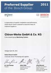 Märkte + Unternehmen: Chiron: Von Bosch mit dem Preferred Supplier Status ausgezeichnet