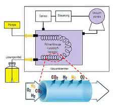 Bild 3: Schematische Darstellung eines Inline-Entgasers (Agilent Technologies) mit der Detailansicht des semipermeablen Teflon-AS-Schlauches.