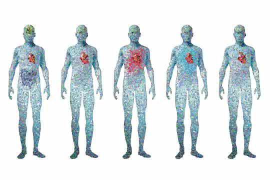 Künstliche Darstellung der Veränderung von Zellen im Körper