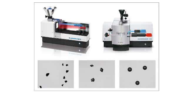 Abb. 1: Zwei moderne DIA Partikelanalysatoren - Camsizer P4 (links) und Camsizer X2 (rechts) von Retsch Technology. Das P4 Modell eignet sich für die schnelle Analyse rieselfähiger Schüttgüter in einem Größenbereich von 20 µm bis 30 mm, das X2 Modell ist optimiert für feine, pulverförmige Probenmaterialien in einem Größenbereich von 0,8 µm bis 8 mm.