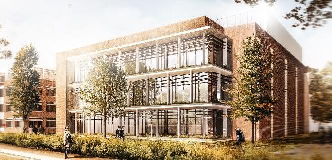 Fertigstellung des Forschungsneubaus im Frühjahr 2020 geplant: Hier in der Vorschau eine Ansicht des neuen Gebäudes von Osten her.