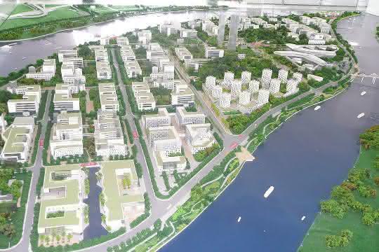 Modell aus dem Jahr 2011 des geplanten Biotech-Parks Guangzhou International Biotech Island, China.