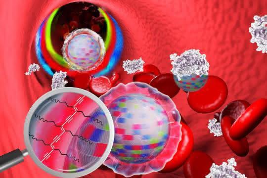 """Nanopartikel im Blut: Die """"Tarnkappe"""" verhindert, dass sich Blutbestandteile anheften."""