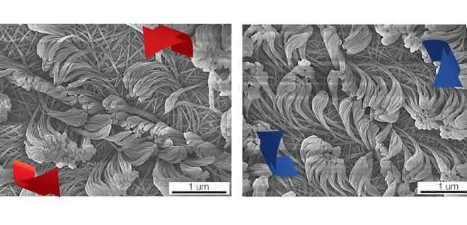 Nanofasern mit unterschiedlicher Drehrichtung.