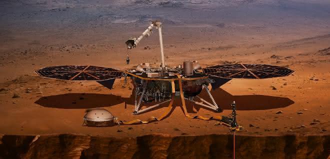 Der InSight Lander in einer künstlerischen Darstellung