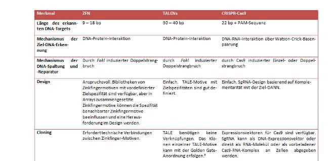 Tabelle 1. Zielspezifität, Wirkmechanismus und experimentelles Design für häufig verwendete Editier-Nukleasen.