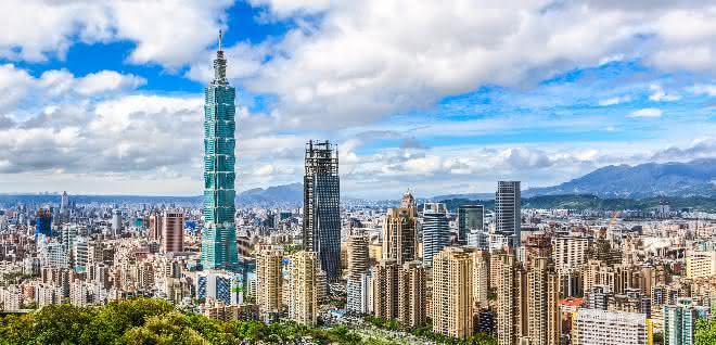 Taiwans Hauptstadt mit ihrem Wahrzeichen Taipeh 101