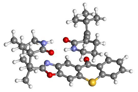 Die Allen-Gruppe des unerwünschten Enantiomers kommt dem Thioxanthon-Sensibilisator deutlich näher und wird daher in die gewünschte Form umgewandelt.