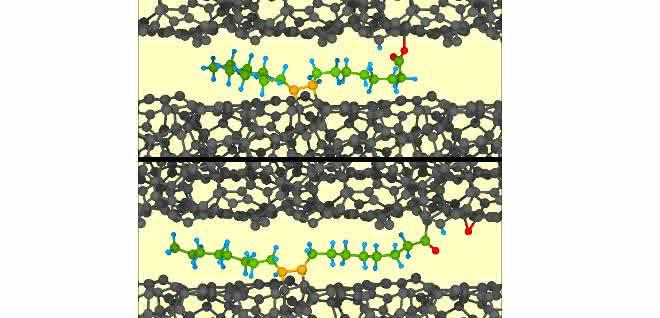 Ölsäure (farbig) geht mit beiden ta-C-Oberflächen (schwarz) chemische Bindungen ein. Bewegung setzt die Ölsäure unter Zug, eine Hydroxylgruppe spaltet sich ab, es bildet sich in Folge Supraschmierung.