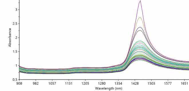 Bild 4: Rohdaten Trocknungsprozess. Übereinander gelegte Spektren (MicroNIR NIR PAT-U) im automatischen Messmodus mit einer Messung pro Sekunde, 100 Akkumulationen je Messung. Abnehmender Wasserpeak bei ca. 1450/nm.