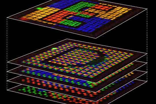 Mehrfarbig fluoreszierendes Sicherheitsmerkmal im Computerdesign (links) und seine einzelnen Ebenen unter dem Laser-Scanning-Mikroskop (rechts).