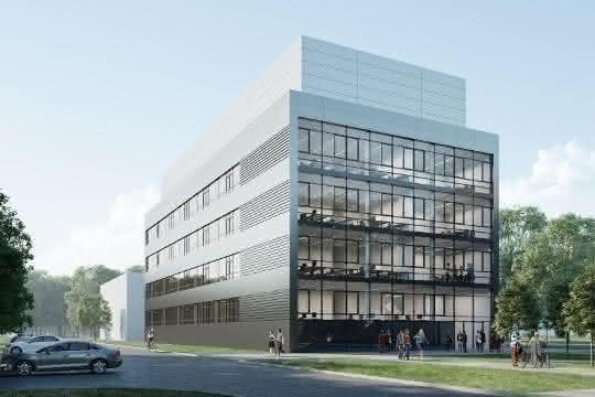Modell: Interdisziplinäre Forschung auf 5 800 Quadratmetern: neues Verfügungsgebäude am Campus Nord des KIT.