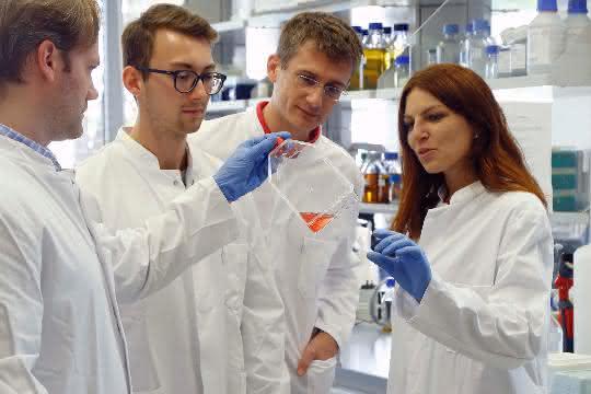 Das Team von Manuel Kaulich (2.v.l.) im Labor.