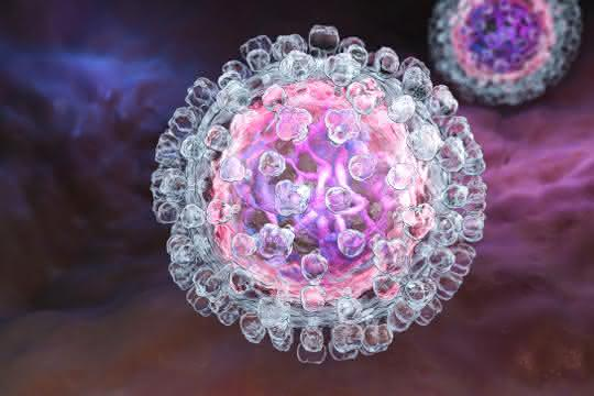 Illustration eines Hepatitis C-Virus.