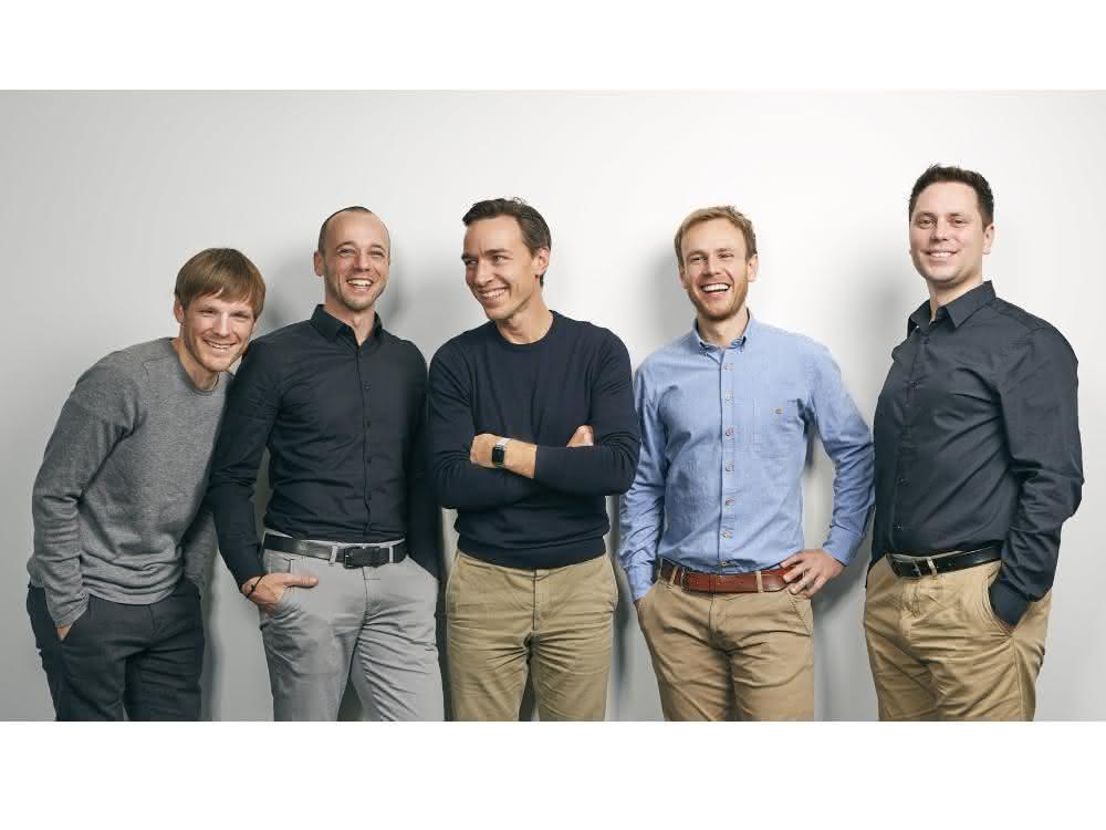 Julian Riba (CSO), Andre Gross (CTO), Benjamin Steimle (CFO), Jonas Schöndube (CEO) und Fabian Stumpf (CMO).