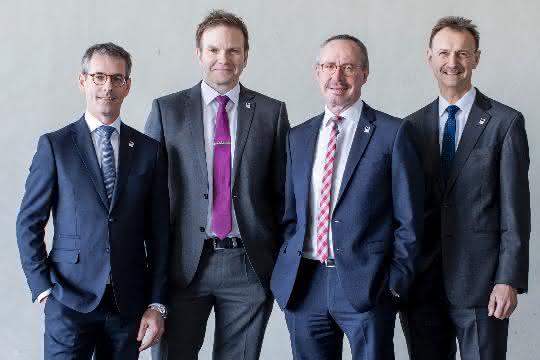 Der neue Renolit Vorstand zum 01.07.2019.: Sven Behrendt, Karsten Jänicke, Dr. Axel Bruder und Vorstandsvorsitzender Michael Kundel (v.l.n.r.).