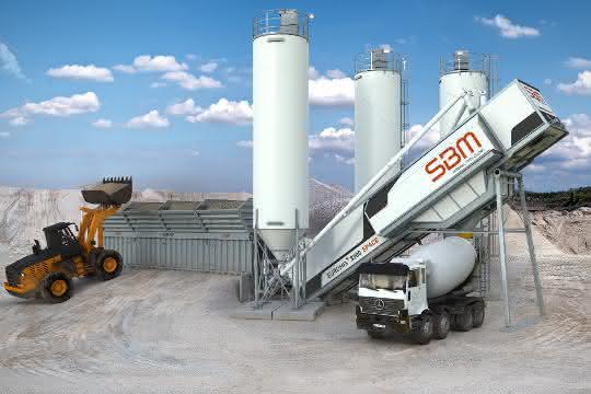 Feiert Weltpremiere auf der bauma: die neue Betonmischanlage Euromix 3300 Space mit verbessertem Platzangebot.