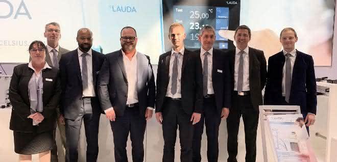 Das Lauda Messeteam rund um den Geschäftsführenden Gesellschafter Dr. Gunther Wobser (mittig) auf der Forum LABO 2019.