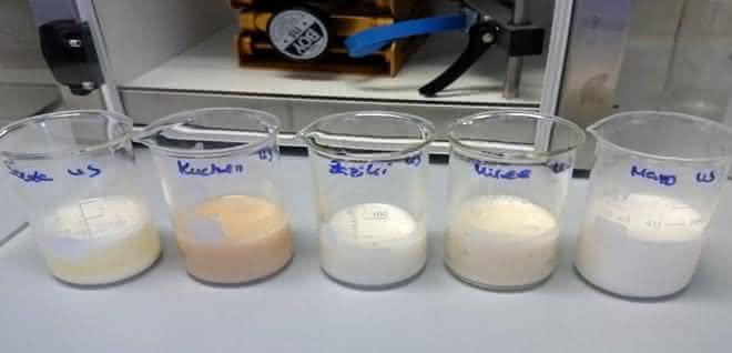 Bild 2b: Ergebnis der Behandlung mit dem Ultraschallhomogenisator (45 s bis 2 min); von links nach rechts: Käse (Gouda), Kuchen, Tzaziki, Frischkäse, Mayonnaise.