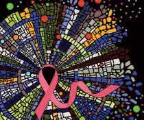 Das Bild stellt einen invasiven Brustkrebs dar, welcher aus vielen verschiedenen Tumorzellarten besteht und von vielartigen Immunzellen umgeben und infiltriert wird.