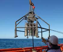 Untersuchungen von Sedimentzusammensetzung und Bodenlebewesen in einer Greiferprobe auf dem Meer.