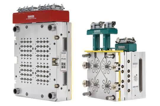 64-fach Heiße Seite mit Mikro-Verteilertechnik (links) und 4-fach Coolshot Kaltkanalsystem (rechts)