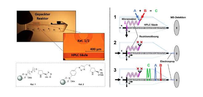 Bild 2: Miniaturisiertes Labor auf einem Chip (oben im Foto) mit integrierter ESI-Emitterspitze und zwei gepackten Säulen (gepacktes Reaktorbett und 35mm HPLC-Säule). Rechts: Die Funktionsweise der Kombination aus Mikrosynthese und HPLC/MS-Analyse.