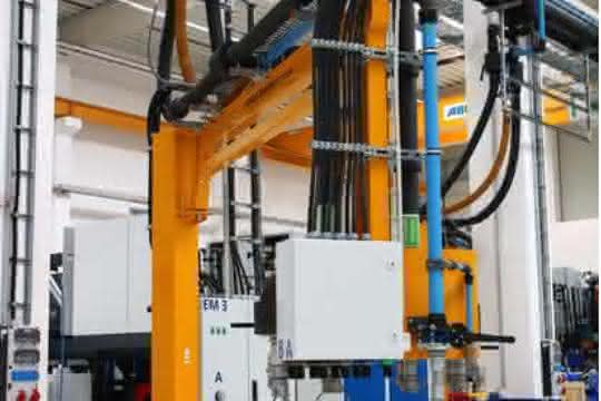 flexible Zuführungen für Druckluft, Kühlwasser und Starkstrom