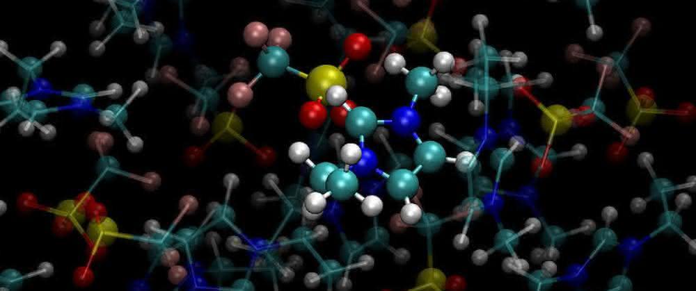 Ausschnitt aus einer MD-Simulation von ionischen Flüssigkeiten.